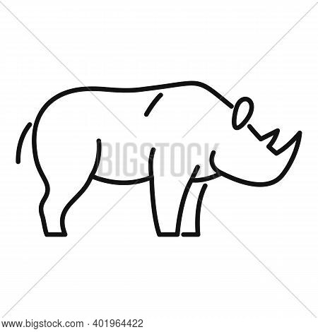Rhino Animal Icon. Outline Rhino Animal Vector Icon For Web Design Isolated On White Background