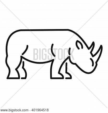 Rhino Horn Icon. Outline Rhino Horn Vector Icon For Web Design Isolated On White Background