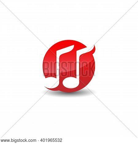 Music Note Symbol Logo Design Vector On Circle Shape. Music Logo Design With Negative Space Style De