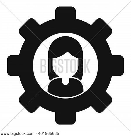 Sociology Gear Woman Icon. Simple Illustration Of Sociology Gear Woman Vector Icon For Web Design Is