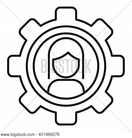 Sociology Gear Woman Icon. Outline Sociology Gear Woman Vector Icon For Web Design Isolated On White