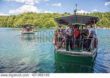 Plitvice Lakes, Croatia - June 26, 2017: Tourist Boats On The Lake At Plitvice Lakes, Croatia.