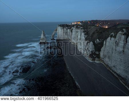 Panoramic Dusk View Of Etretat Chalk White Cliffs Natural Bridge Aiguille Needle Atlantic Ocean Coas