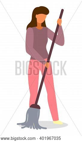 Young Woman Housewife Cleaning The Floor With A Mop, People Activity, Daily Routine Vector Illustrat