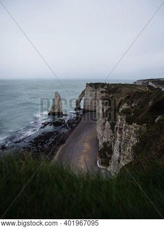 Panoramic View Of Etretat Chalk Complex White Cliffs Natural Bridge Aiguille Needle Atlantic Ocean C