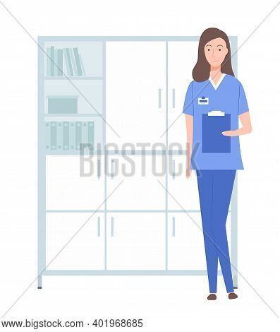 Female Character With Clipboard. Doctor, Physician, Therapist Portrait. Nurse Working In A Hospital.