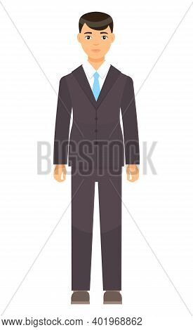 Isolated Cartoon Character Businessman Wearing Stylish Brown Suit, Blue Tie. Man In Jacket And Trous