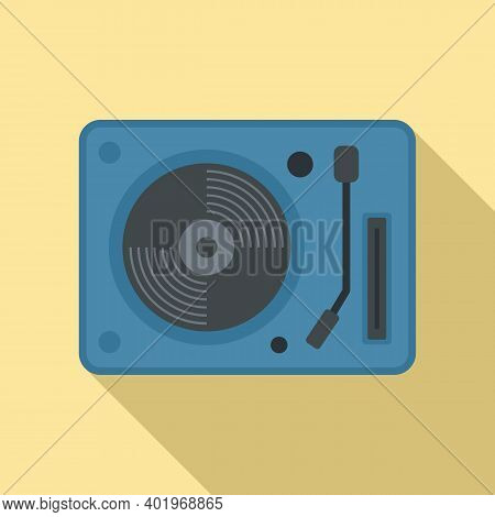 Vinyl Disc Player Icon. Flat Illustration Of Vinyl Disc Player Vector Icon For Web Design
