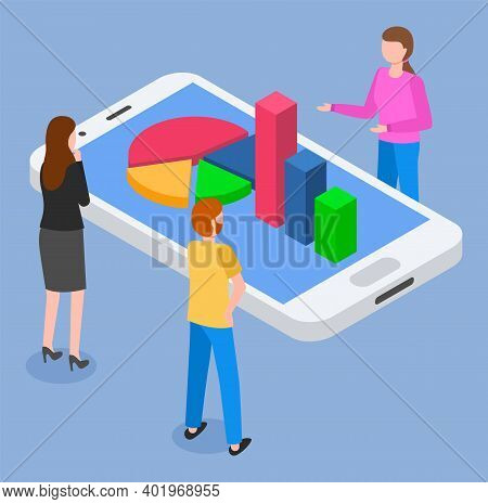 People Looking At 3d Growing Graphic At Phone S Screen. Isometric Infographics. Financial Strategy.