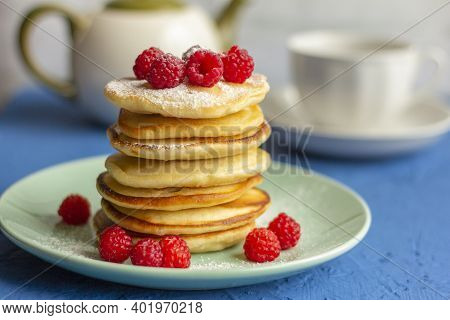 Delicious Homemade Pancakes With Raspberries On A Plate.delicious Homemade Breakfast.