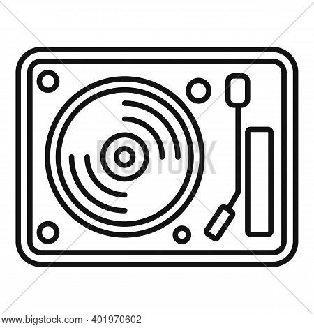 Vinyl Disc Player Icon. Outline Vinyl Disc Player Vector Icon For Web Design Isolated On White Backg