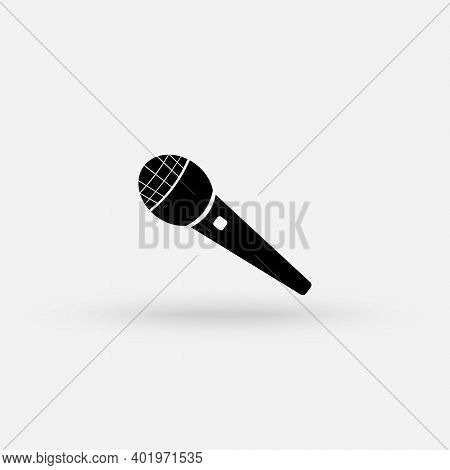 Microphone Icon In Flat Style. Mic Broadcast Vector Illustration On White Isolated Background. Micro