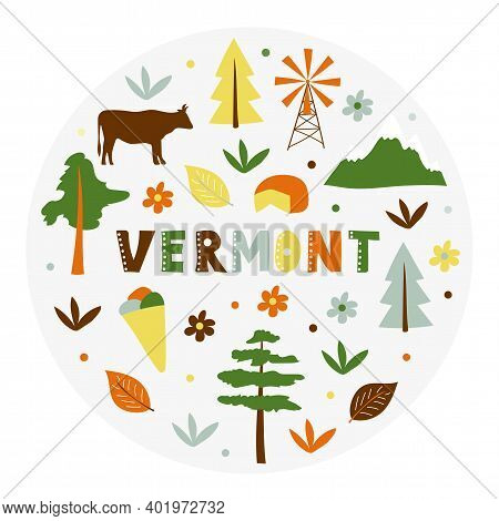 Usa Collection. Vector Illustration Of Vermont Theme. State Symbols - Round Shape