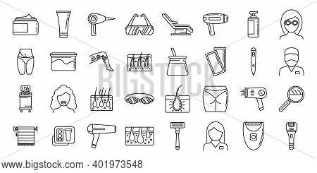Modern Laser Hair Removal Icons Set. Outline Set Of Modern Laser Hair Removal Vector Icons For Web D
