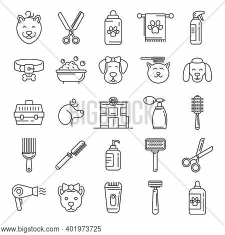 Groomer Icons Set. Outline Set Of Groomer Vector Icons For Web Design Isolated On White Background