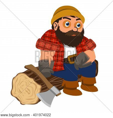 Lumberjack Resting Icon. Cartoon Of Lumberjack Resting Vector Icon For Web Design Isolated On White