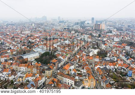 Brussels, Belgium,  January 3, 2021:    Old town of Brussels view from above. European commission building on the background