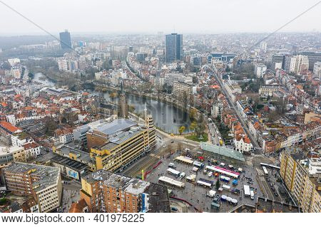 Brussels, Belgium,  January 3, 2021:  panorama view from above, Ixelles pons and Flagey Building on Eugène Flagey Square