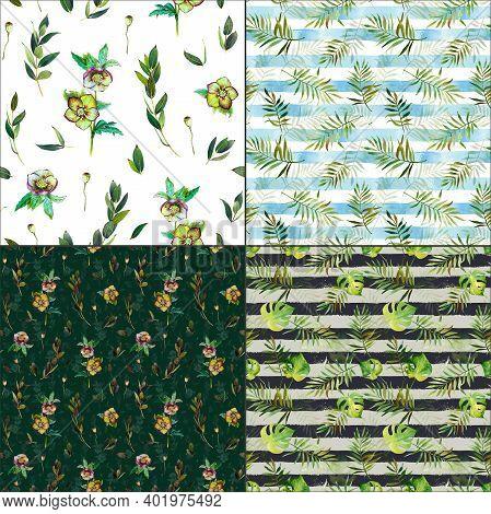 Seamless Floral Background Green Flower Pattern Hellebore Palm Leaf
