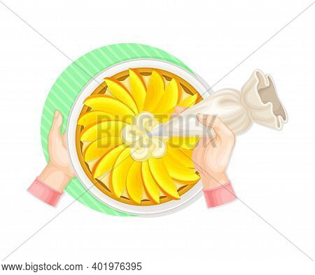 Human Hands Decorating Pie With Whipped Cream From Pastry Bag Above View Vector Illustration