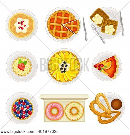 Sugary Desserts With Fruit Pie And Tart Served On Plate Vector Set