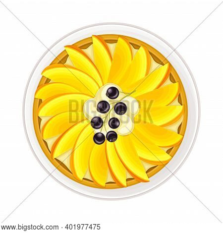 Fruit Pie Or Cheesecake As Sugary Dessert With Mango On Plate Vector Illustration