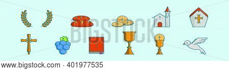 Set Of Eucharist Cartoon Icon Design Template With Various Models. Modern Vector Illustration Isolat