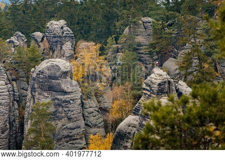 Sandstone Cliffs Prachovske Skaly Prachov Rocks, Landscape With Colorful Trees In Nature National Pa