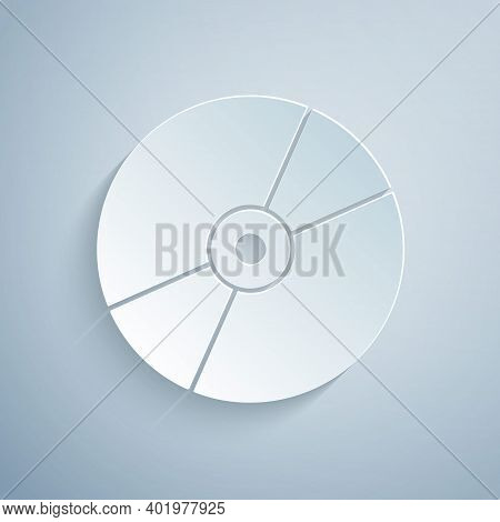 Paper Cut Cd Or Dvd Disk Icon Isolated On Grey Background. Compact Disc Sign. Paper Art Style. Vecto