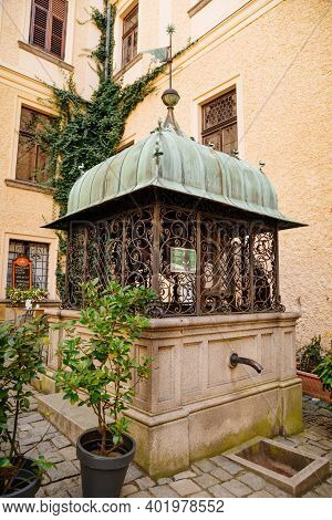 Historic Medieval Konopiste Castle Residence Of Habsburg Imperial Family, Courtyard With A Well, Rom