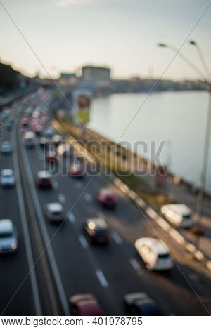 Abstract Picture, Busy Traffic. Picture Blurred For Background Abstract And Can Be Illustration To A