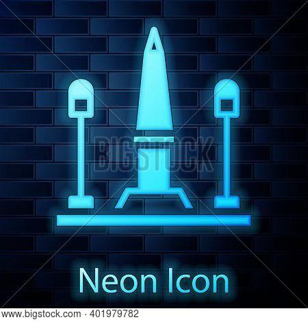 Glowing Neon Place De La Concorde In Paris, France Icon Isolated On Brick Wall Background. Vector