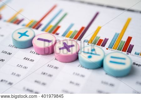 Math Symbols Charts Graphs Spreadsheet. Finance Banking Account, Statistics, Investment Analytic Res
