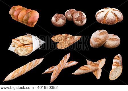 Assortment Of Different Types Of Bread, Loaf, Baguettes, Made Of Wheat, Rye Organic, Isolated On Bla