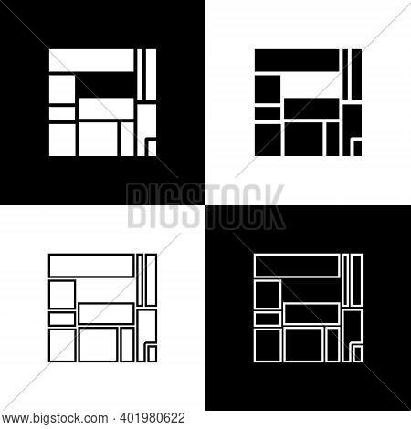 Set House Edificio Mirador Icon Isolated On Black And White Background. Mirador Social Housing By Mv
