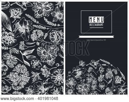 Menu Cover Floral Design With Chalk Anemone, Lavender, Rosemary Everlasting, Phalaenopsis, Lily, Iri