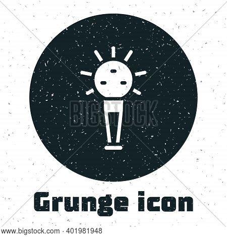 Grunge Mace, Symbol Of Ukrainian National Power Icon Isolated On White Background. Traditional Weapo