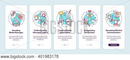 Media Literacy Elements Onboarding Mobile App Page Screen With Concepts. Decoding Messages, Responsi