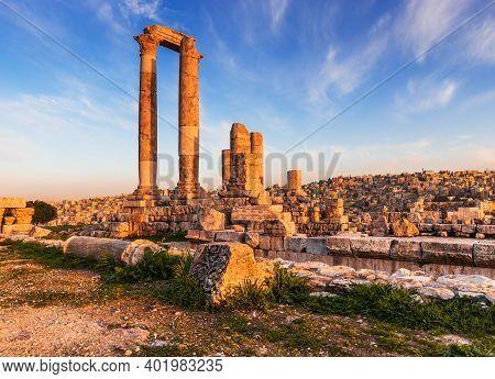 Amman, Jordan. The Temple Of Hercules, Amman Citadel.