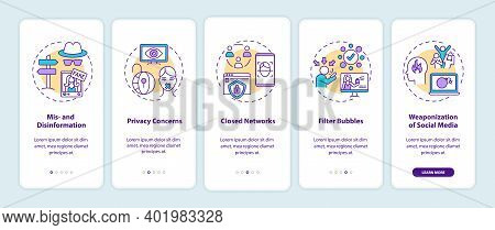 Social Media And Journalism Challenge Onboarding Mobile App Page Screen With Concepts. Disinformatio