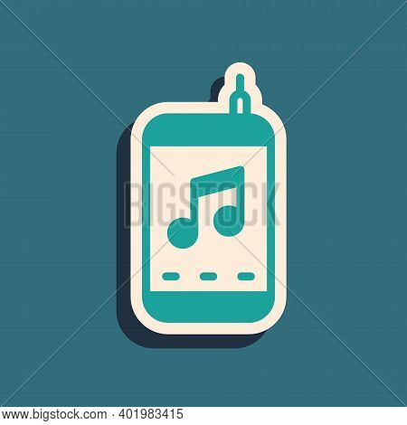 Green Music Player Icon Isolated On Green Background. Portable Music Device. Long Shadow Style. Vect