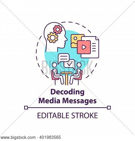 Decoding Media Messages Concept Icon. Media Literacy Elements Idea Thin Line Illustration. Analyzing