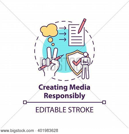 Creating Media Responsibility Concept Icon. Accuracy And Truth Idea Thin Line Illustration. Consider