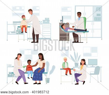 A Set Of Illustrations On The Topic Of Health Check Of Little Patients. Doctor Examines Children In