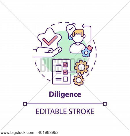 Diligence Concept Icon. Journalistic Ethics Standards Idea Thin Line Illustration. Gathering And Pre