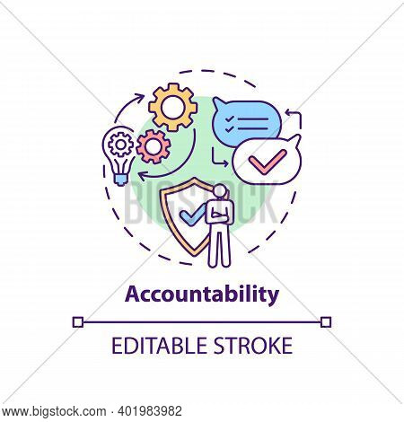 Accountability Concept Icon. Journalistic Ethics Standards Idea Thin Line Illustration. Responsibili