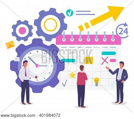 Time Management, Organizing Effective Time, Planning Dates, Business Meetings, Businessmen Standing