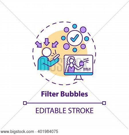 Filter Bubbles Concept Icon. Social Media And Journalism Challenge Idea Thin Line Illustration. Isol