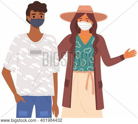 African Man And Woman Wear Medical Masks. People Stand Together And Pose Vector Illustration Isolate