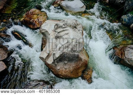 Nature Background With Cascades Of Mountain Creek Close-up. Scenic Landscape With Beautiful Mountain